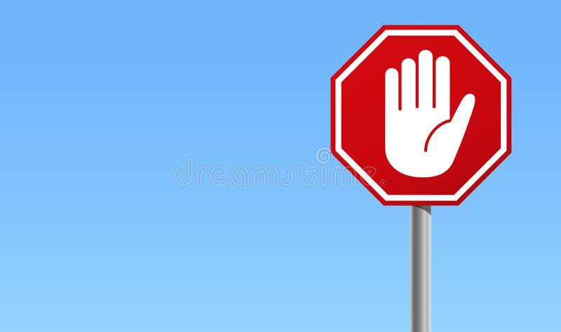 Sinal vermelho da parada com símbolo da mão grande e fundo azul ilustração do vetor