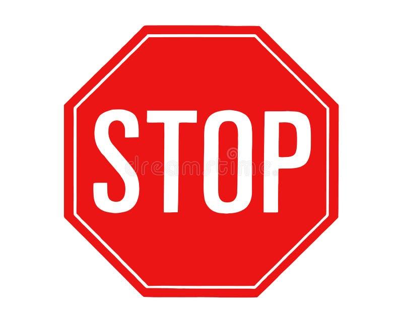 Sinal vermelho da parada no fundo branco Tráfego e sinal de estrada, gráficos de vetor ilustração do vetor