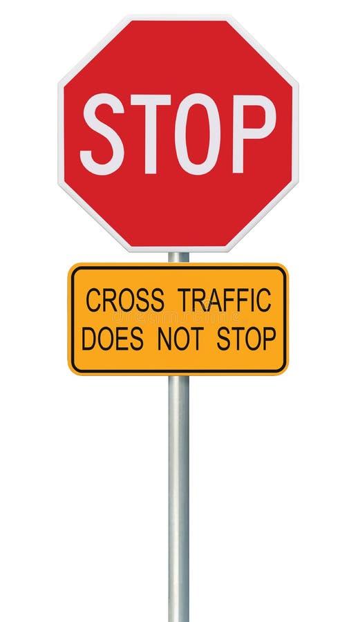 Sinal vermelho da parada, octógono de advertência regulador isolado do Signage do tráfego, cargo do metal fotografia de stock
