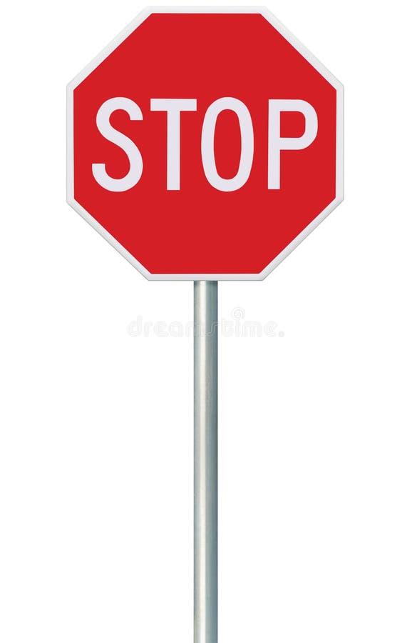 Sinal vermelho da parada, octógono de advertência regulador isolado do Signage do tráfego, quadro octogonal branco, cargo metálic imagem de stock royalty free