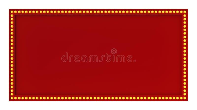 Sinal vermelho da placa da luz do famoso retro no fundo branco rendição 3d ilustração stock