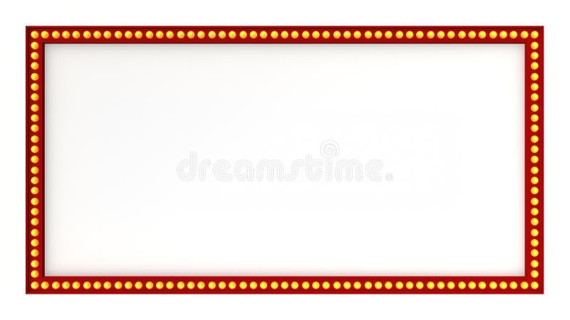 Sinal vermelho da placa da luz do famoso retro no fundo branco rendição 3d ilustração do vetor