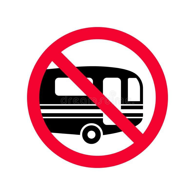 Sinal vermelho da proibição nenhuns campistas Caravana que estacionam o sinal não permitido ilustração royalty free