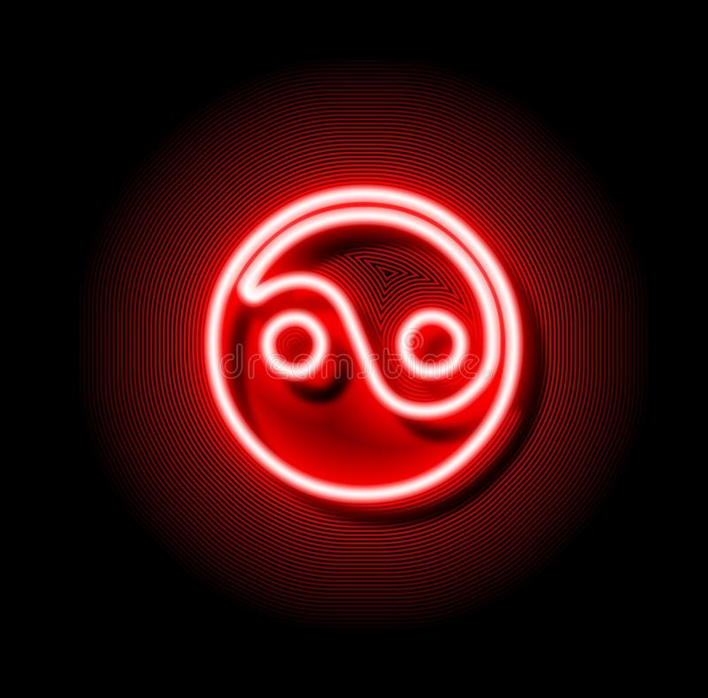 Sinal vermelho de néon de Ying yang ilustração royalty free