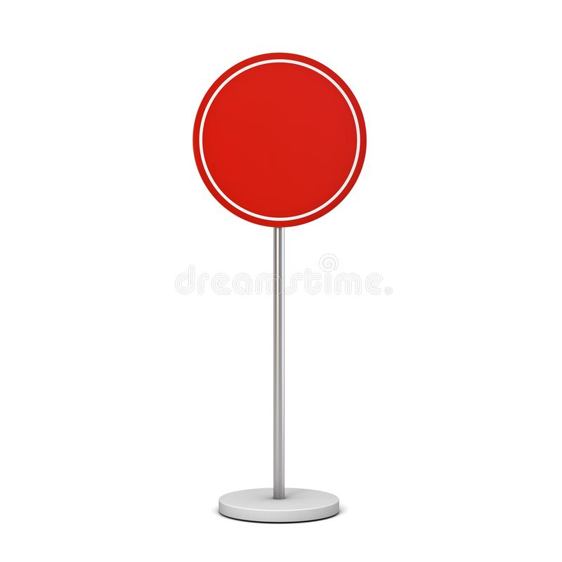 Sinal vermelho do círculo da placa com zombaria da placa do suporte do polo acima da placa ou de anunciar do signage da informaçã ilustração do vetor