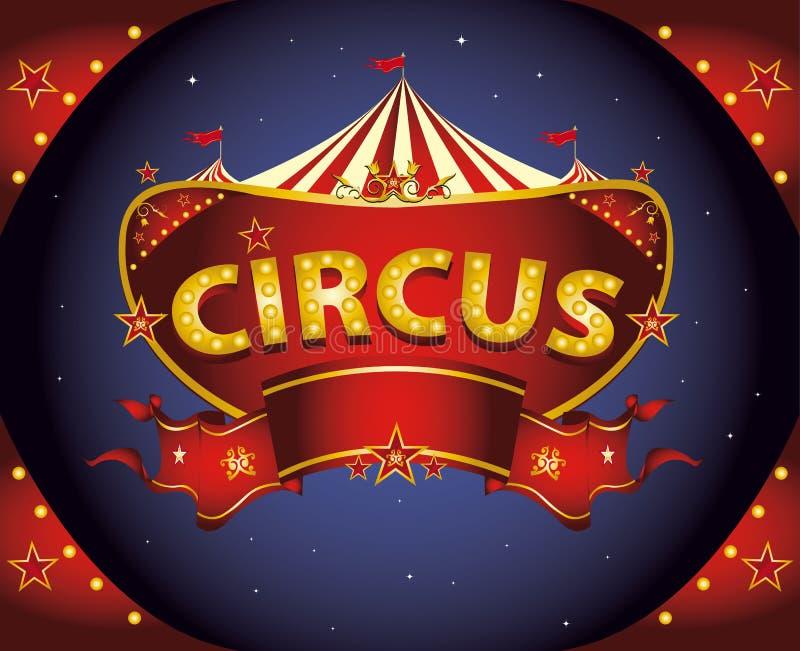 Sinal vermelho do circo da noite ilustração royalty free