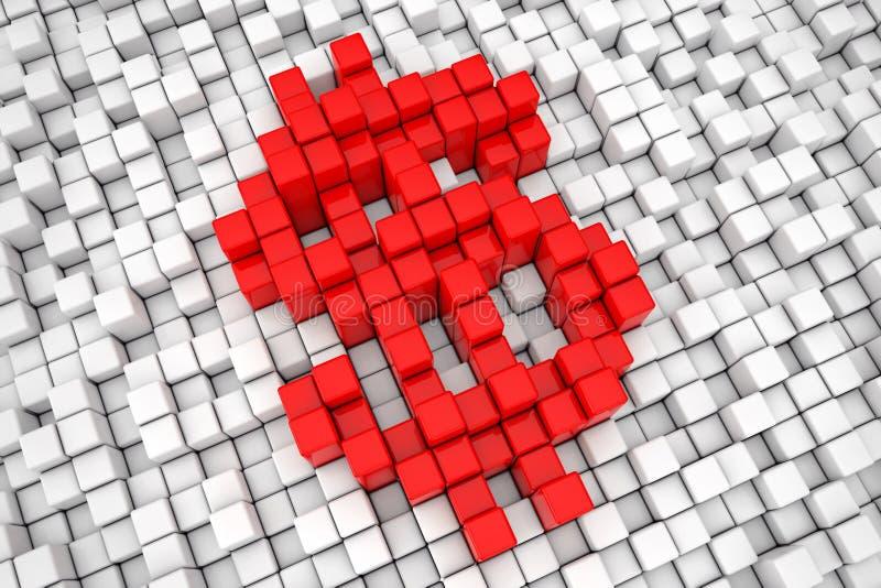 Sinal vermelho do pixel do cubo do bloco do dólar rendição 3d ilustração stock
