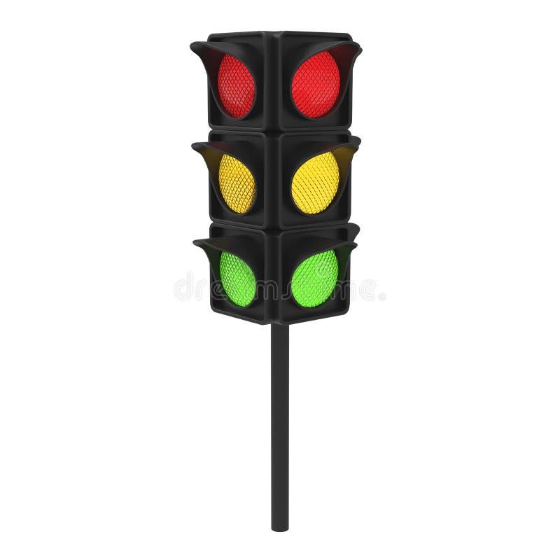 sinal vermelho do verde amarelo da ilustração 3D ilustração royalty free
