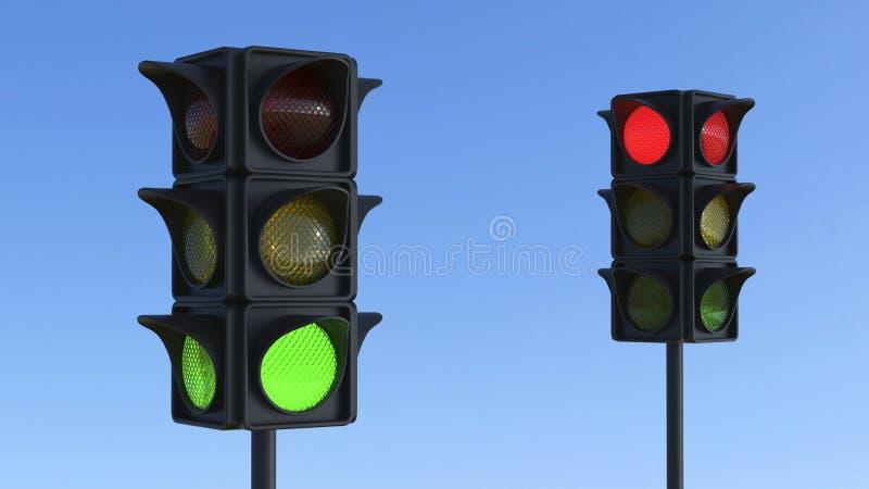 sinal vermelho e verde da ilustração 3D ilustração do vetor