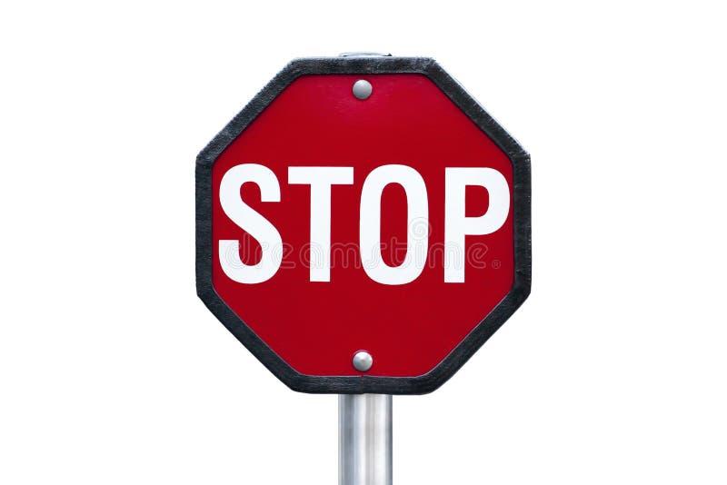 Sinal vermelho isolado da parada com letras brancas foto de stock royalty free