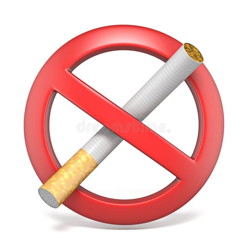 Sinal vermelho não fumadores 3D ilustração stock