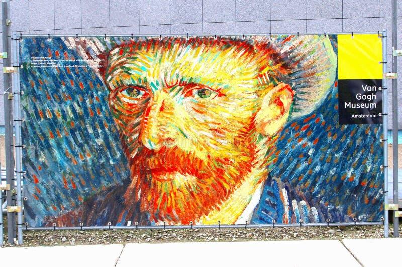 Sinal a Vincent van Gogh Museum em Amsterdão imagens de stock