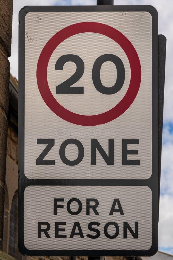 Sinal: Zona 20, para uma razão imagem de stock royalty free