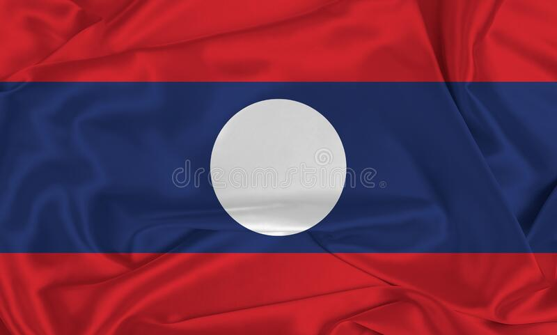 Sinalizador Laos da Seda fotografia de stock
