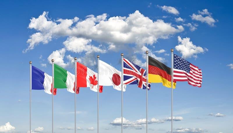 Sinalizadores G7 Bandeiras de seda de países do Grupo dos Sete: Alemanha, Canadá, EUA, Itália, França, Japão, Reino Unido em 2020 foto de stock royalty free