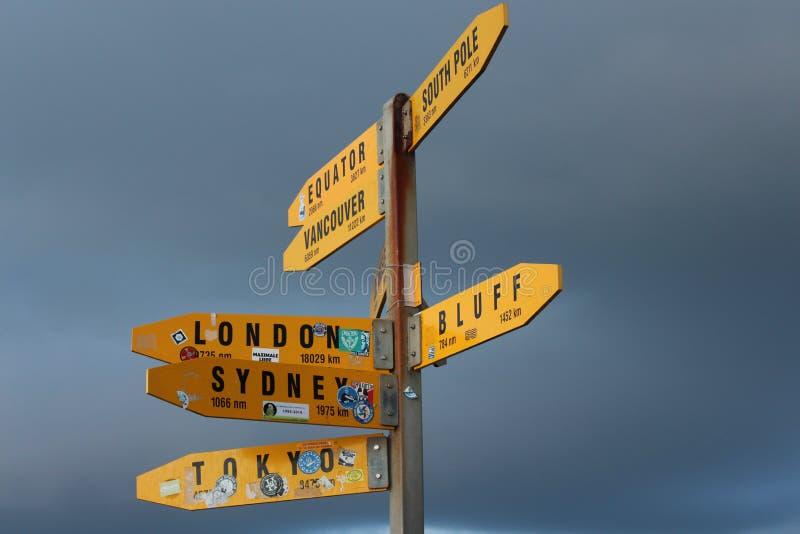 Sinalize apontar a maneira e as distâncias às cidades principais do mundo imagens de stock royalty free