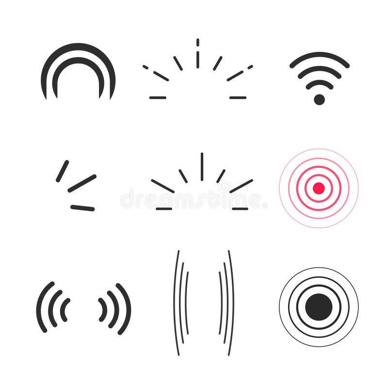 Sinalize o vetor dos ícones, as ondas dos sinais de rádio e os símbolos dos raios claros ilustração royalty free