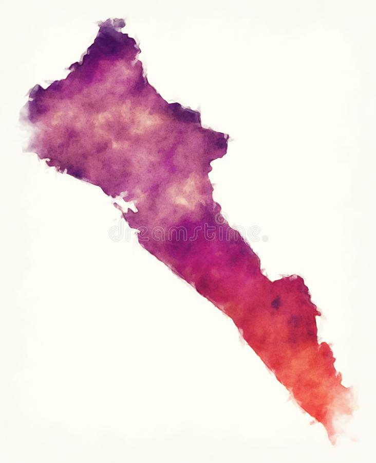 Sinaloa-Staatskarte von Mexiko vor einem weißen Hintergrund lizenzfreie abbildung