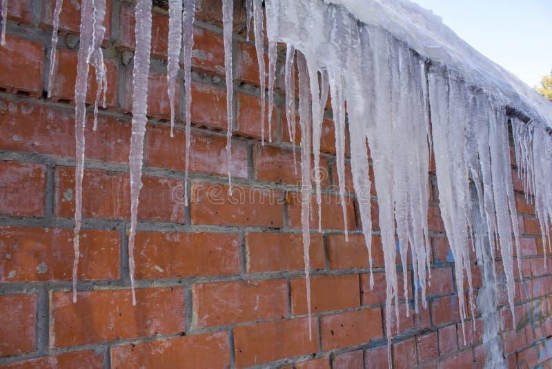 Sincelos brancos longos em um fundo da parede de tijolo vermelho imagens de stock royalty free