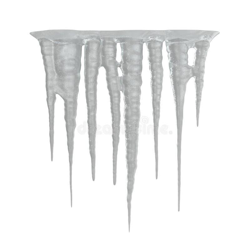 Sincelos do gelo no fundo branco 3D Illusration, isolado ilustração stock