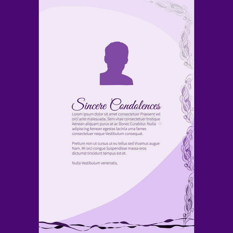 Sincere Condolences vector lettering in abstract style, place for text and photo royalty free illustration