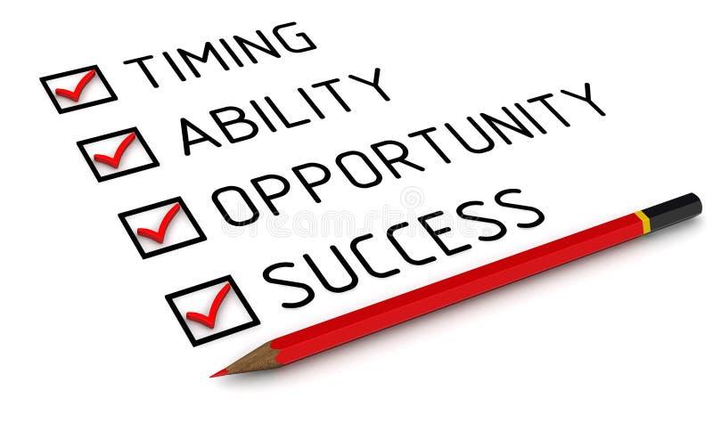 Sincronismo, capacidade, oportunidade, sucesso Lista com as marcas ilustração do vetor