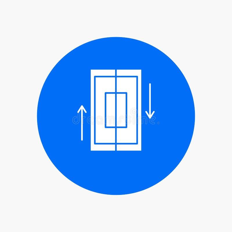 sincronização, sincronização, dados, telefone, ícone branco do Glyph do smartphone no círculo Ilustra??o do bot?o do vetor ilustração royalty free