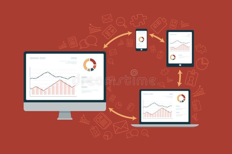 Sincronização dos dados entre o computador, a tabuleta & o telefone ilustração royalty free