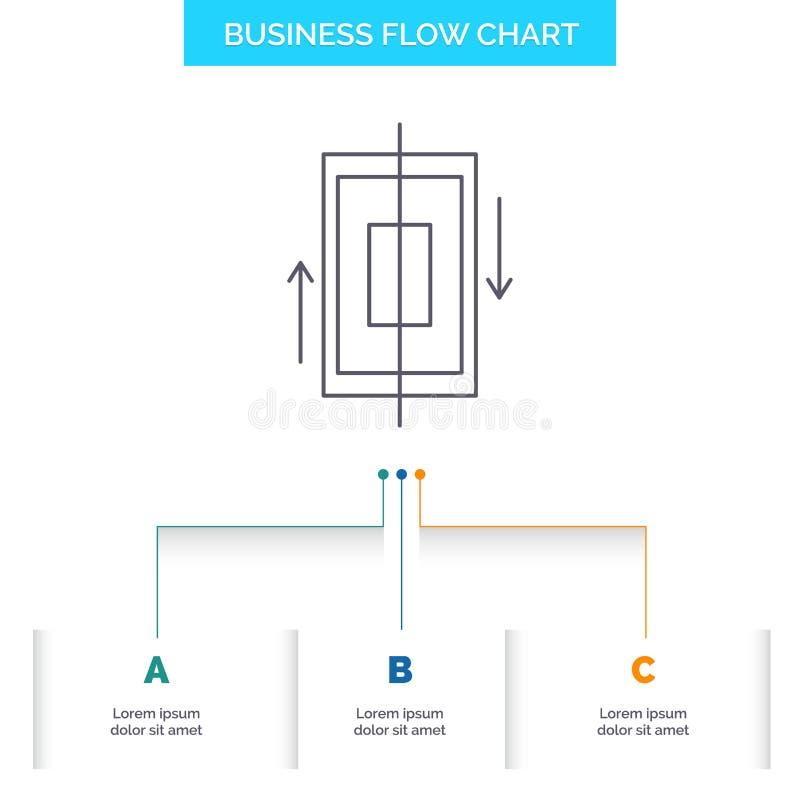 sincronización, sincronización, datos, teléfono, diseño del organigrama del negocio del smartphone con 3 pasos L?nea icono para e stock de ilustración