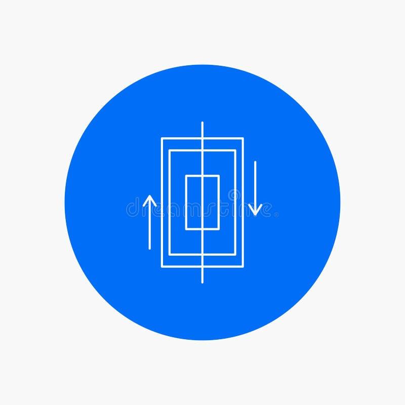 sincronización, sincronización, datos, teléfono, línea blanca icono del smartphone en fondo del círculo Ejemplo del icono del vec libre illustration
