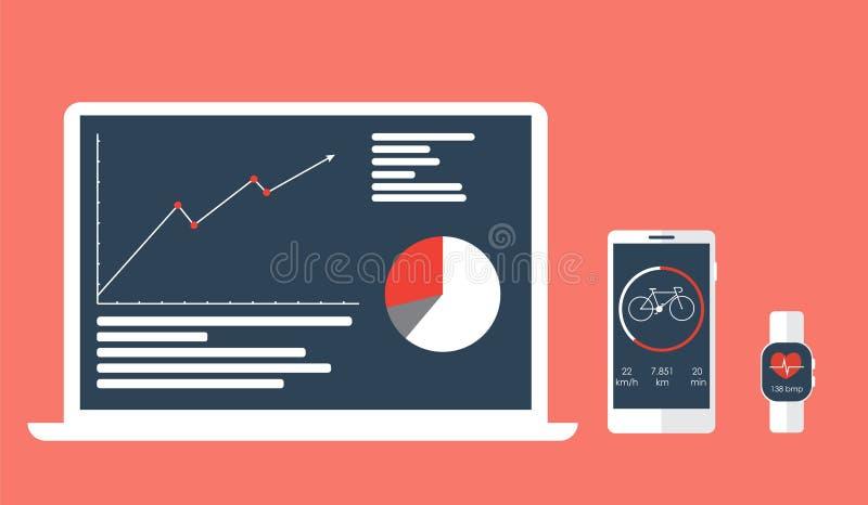 Sincronización del app de los deportes en los dispositivos y el éxito del seguimiento de la dinámica ilustración del vector