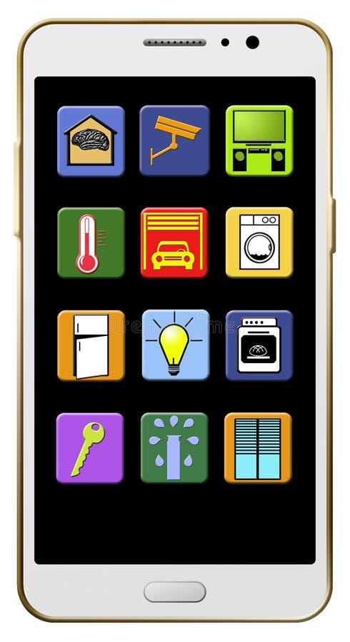 Sind hier die intelligenten Haupt-apps, die auf dem Schirm eines Handys angezeigt werden Abbildung stock abbildung