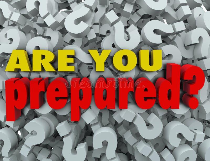 Sind Sie vorbereiteten Fragen-bereite Bewertungs-Einschätzung lizenzfreie abbildung