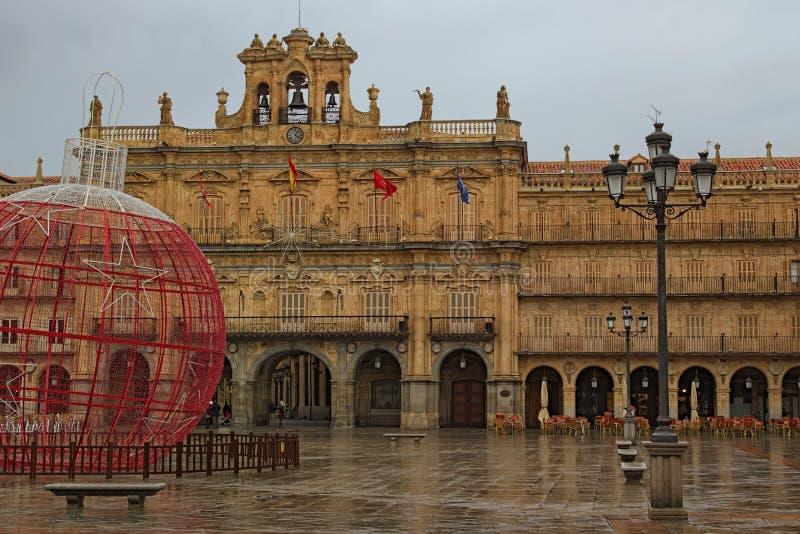 Sindaco antico della plaza è il quadrato principale Vista nel giorno piovoso Il quadrato è sviluppato nello stile barrocco spagno fotografia stock