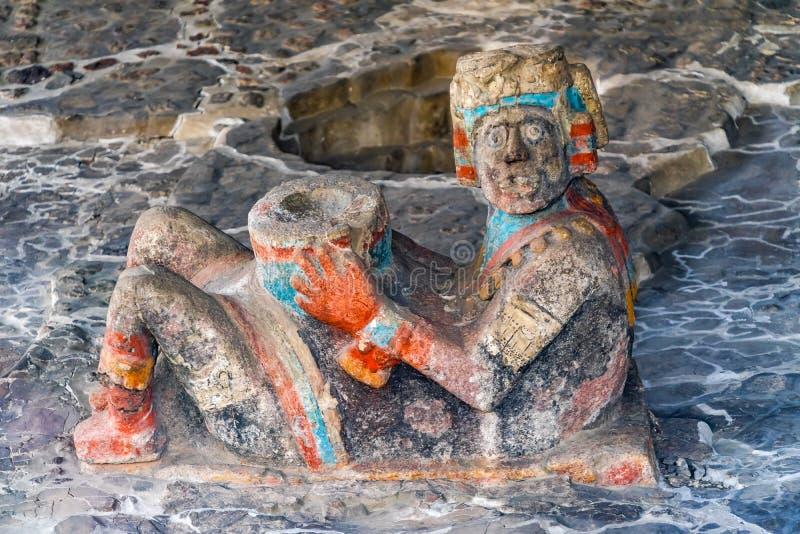 Sindaco d'offerta Mexico City Mexico di Templo della statua di Chacmool dell'Azteco antico immagine stock libera da diritti