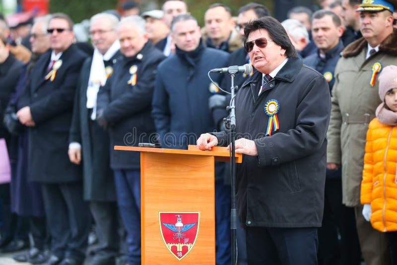 12/01/2018 - Sindaco di Timisoara che dà un discorso sulle celebrazioni rumene di festa nazionale in Timisoara, Romania immagini stock