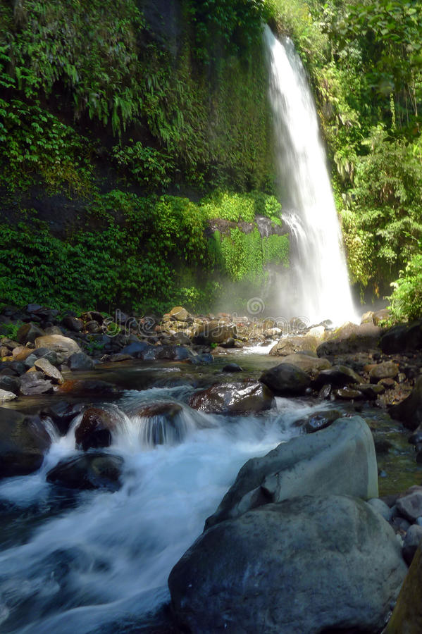 Sindang Gila Lombok Waterfall. Sendang Gila waterfall (Sendang Gile), is Mount Rinjani national park's best known attraction. Located at about 600m above sea stock image