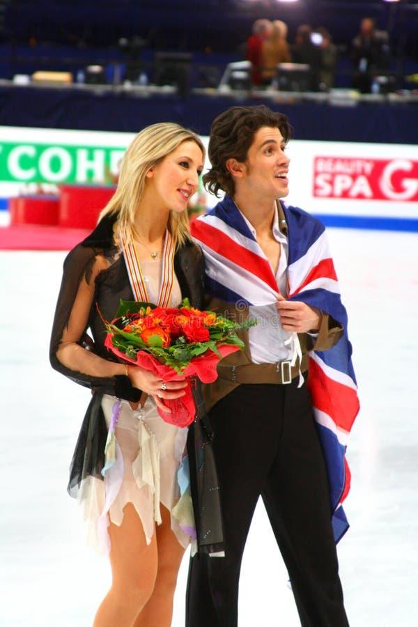 Sinead Kerr et John Kerr avec des médailles de bronze image libre de droits