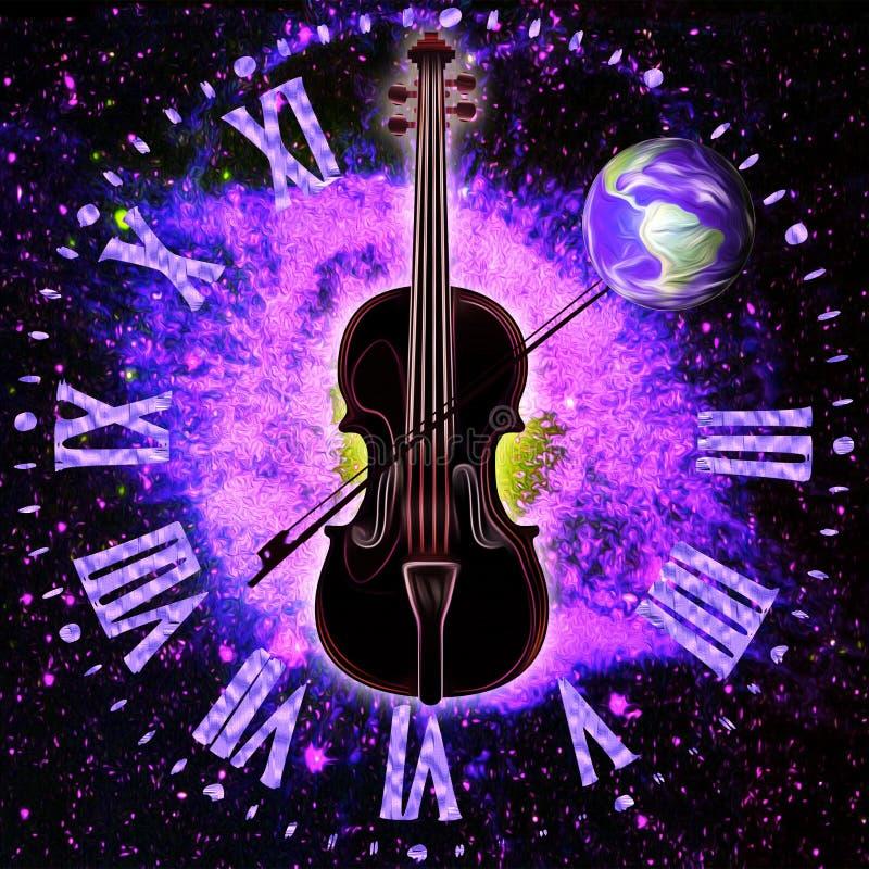 Sinergia cosmica di spazio-tempo e di musica royalty illustrazione gratis
