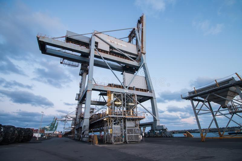 Sines port cranes royalty free stock photo