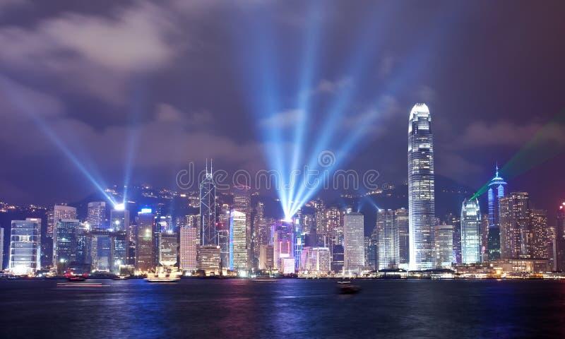 Sinfonía de la demostración de las luces en Hong Kong fotografía de archivo
