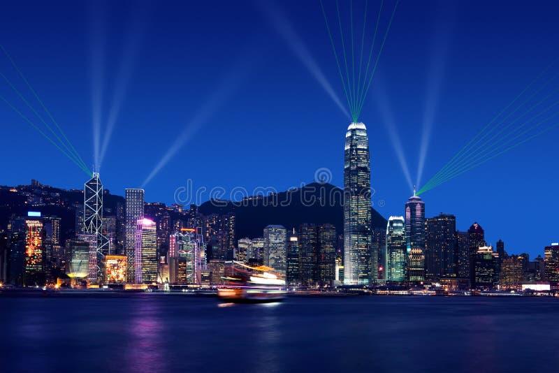 Sinfonía de luces en Victoria Harbor, Hong-Kong fotografía de archivo libre de regalías
