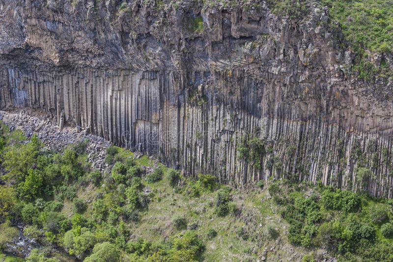 Sinfonia geologica unica di meraviglia delle pietre vicino a Garni, Arme fotografia stock libera da diritti