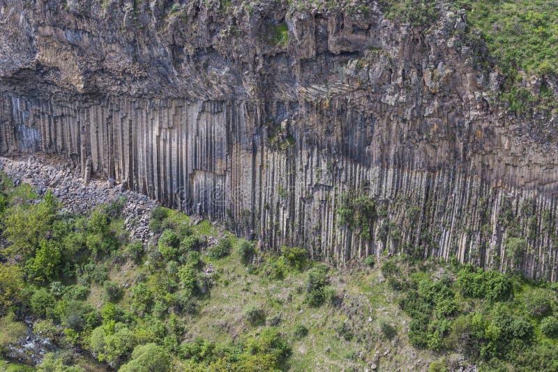 Sinfonia geological original da maravilha das pedras perto de Garni, Arme fotografia de stock royalty free