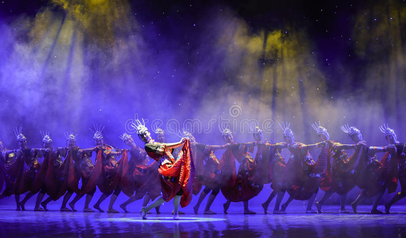 Sing folk songs-Yi nationality red-Chinese National Dance. Graduation performance of class5, grade 11, dancing department,Jiangxi Vocational Academy of Art on stock photos