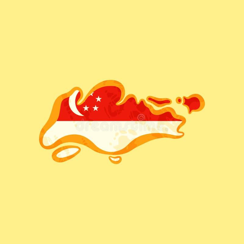 Singapore - översikt som färgas med flaggan stock illustrationer