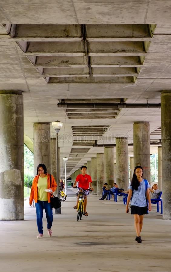 Free Singapore-08 SEP 2018:people Walk In The Open Space Under The Mrt Railway Day View Royalty Free Stock Images - 159418239