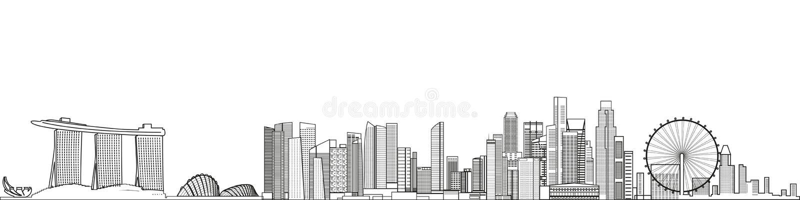 Singapore abstrakt cityscapelinje detaljerad illustration för konststilvektor bakgrund mer mitt portf?ljlopp stock illustrationer