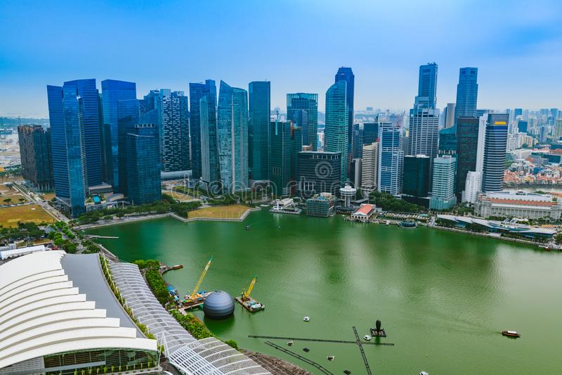 Singapore aerial city view of financial district buildings and skyscrapers in Marina Bay stock image