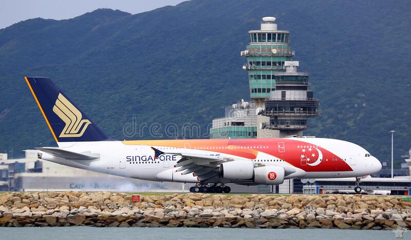 Singapore Airline on runway royalty free stock images